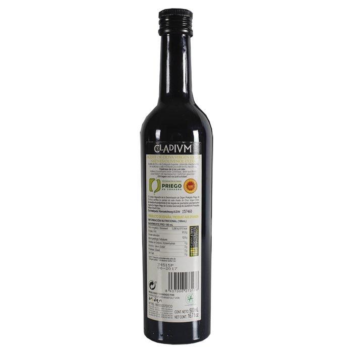 Cladivm Aceite de Oliva Virgen Extra Picudo • Trasera Botella 50 cl • AtracoM • Comercio Cashback
