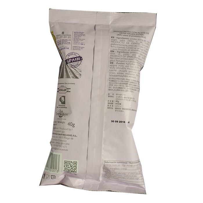 San Nicasio Patatas Fritas en Aceite de oliva Virgen Extra con Sal Rosa del Himalaya Bolsa 40 g • AtracoM • Comercio Cashback