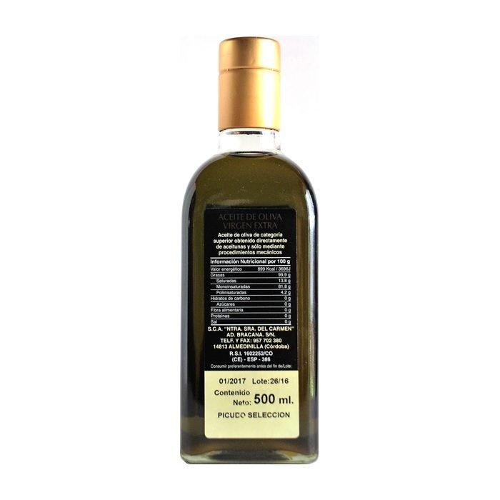 Olibrácana Aceite de Oliva Virgen Extra Picudo Selección • Frasca de 50 cl • Trasera • AtracoM • Comercio Cashback