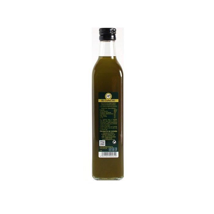 El Capacho Aceite de Oliva Virgen Extra Sin Filtrar Arbequino • Botella de 50 cl • Trasera • AtracoM • Comercio Cashback