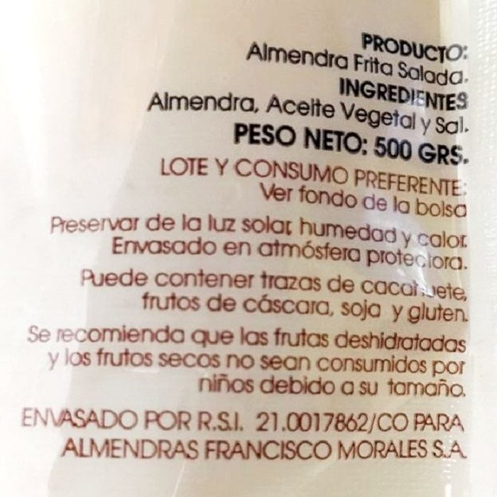 Francisco Morales Almendra Comuna Frita con Sal • Bolsa 500g • Detalle AtracoM Comercio Cashback